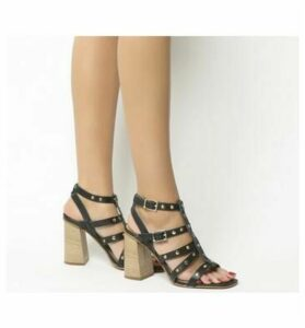 Office Herring Studded Strappy Block Heel BLACK LEATHER