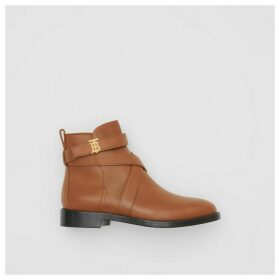 Burberry Monogram Motif Leather Ankle Boots, Brown