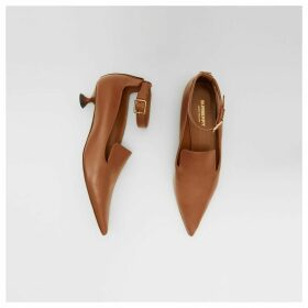 Burberry Leather Point-toe Kitten-heel Pumps, Brown