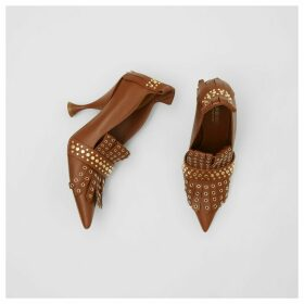Burberry Studded Kiltie Fringe Leather Point-toe Pumps, Brown