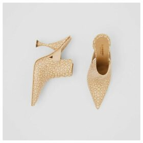 Burberry Stingray Print Leather Point-toe Mules, Beige