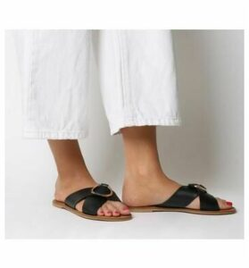 Office Spirit- Ring Detail Mule Sandal BLACK LEATHER GOLD RING