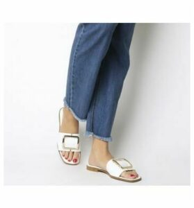 Office Senorita- Mule Sandal WHITE LEATHER GOLD BUCKLE