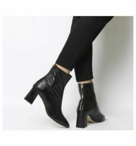 Office All Day- Back Zip Block Heel Boot BLACK LEATHER