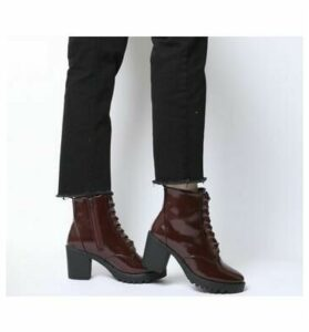 Office Absolutely- Lace Up Cleated Boot BURGUNDY BOX