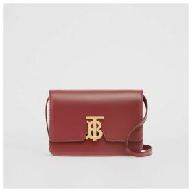 Burberry Small Leather TB Bag, Red