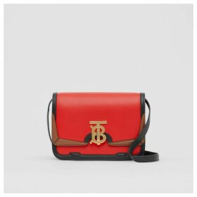 Burberry Small Appliqué Leather TB Bag, Red