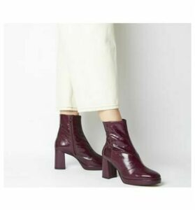 Office Aquarius- Low Platform Boot BURGUNDY LEATHER