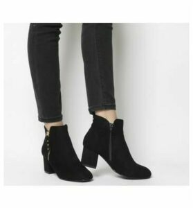 Office Alicia Side Zip Boots BLACK GOLD STUDS