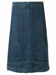 Chanel Pre-Owned 2000 inverted waistband denim skirt - Blue