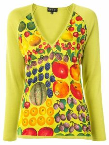 Gucci Pre-Owned fruit print V-neck blouse - Green