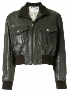 Chanel Pre-Owned CC patch bomber jacket - Brown