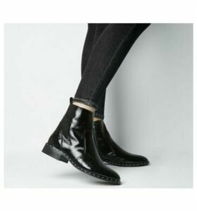Office Ashleigh Flat Ankle Boots BLACK LEATHER WITH STUD RAND