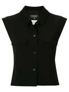 Chanel Pre-Owned 1996 buttoned cropped top - Blue
