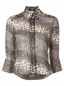 Chanel Pre-Owned 2003 floral cropped shirt - Brown