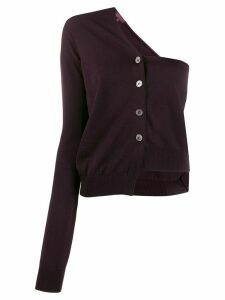 Romeo Gigli Pre-Owned 1990s single-shoulder buttoned cardigan - PURPLE