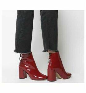 Office Argon- Block Heel Back Zip RED PATENT
