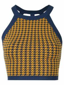 Nagnata houndstooth strap back crop sports top - Blue