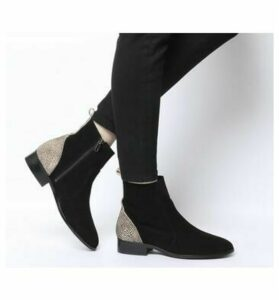 Office Ashleigh Flat Ankle Boots BLACK SUEDE LEOPARD MIX