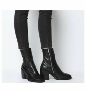 Office Amount- Unlined Block Heel Boot BLACK LEATHER