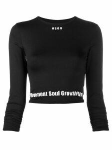 MSGM logo-hem long-sleeved perfomance top - Black