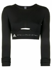 adidas X Stella McCartney logo crop top - Black