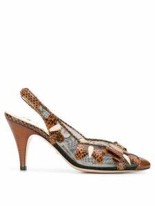 Gucci butterflies mid-heel slingback pumps - Black