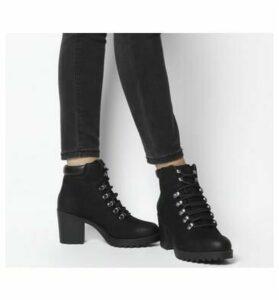 Vagabond Grace Lace Heel Block Boot BLACK NUBUCK