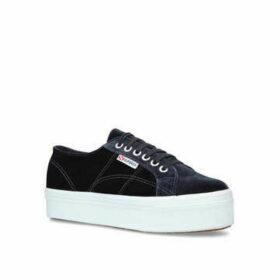 Womens 2790 Velvetw Low Heel Sneakers Superga Grey/Dark, 3.5 UK