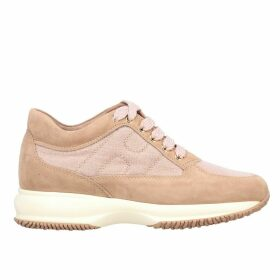 Hogan Sneakers Interactive Hogan Sneakers In Suede And Lurex Canvas With Rounded H