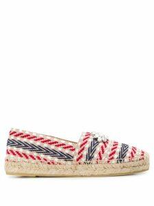 Miu Miu embellished striped espadrilles - NEUTRALS