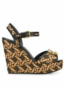 Dolce & Gabbana DG Amore braided wedge sandals - NEUTRALS