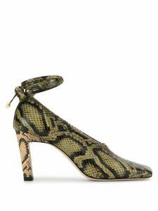 Wandler Isa Mule snake-effect 85mm pumps - Green