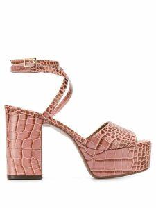 L'Autre Chose croc-effect 100mm platform sandals - PINK