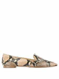 Aeyde pointed snakeskin effect flat shoes - Brown