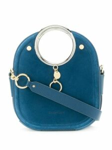 See by Chloé engraved logo charm round handle bag - Blue