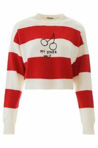 Miu Miu Striped Sweater With Embroidery