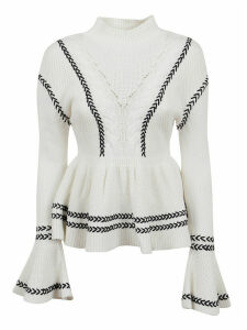 self-portrait Ivory Stripe Frill Knit Jumper