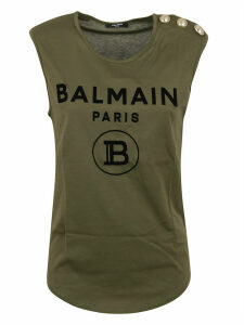 Balmain 3 Btn Flocked Logo Tank Top