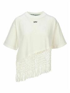 Off White Asymmetric Hem Fishnet T-shirt