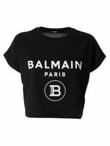 Balmain Logo Print Cropped T-shirt
