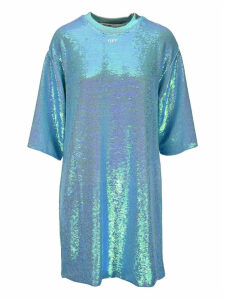 Off White Sequined T-shirt Dress