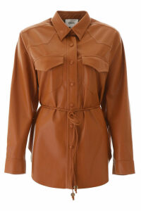 Nanushka Faux Leather Eddy Shirt With Belt