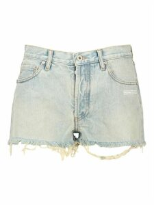 Off White Bleach Denim Shorts