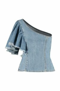 Pinko Maya Denim One-shoulder Top