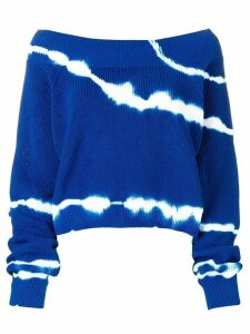 MSGM off shoulder tie-dye sweater - Blue