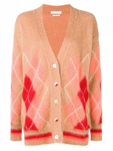 Ballantyne diamond pattern cardigan - Brown