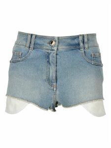 Balmain High-waist Denim Shorts With Balmain Monogram
