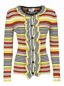 MSGM Stripe Ruffled Front Jumper