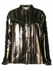 Black Coral ruffle detail blouse - Metallic